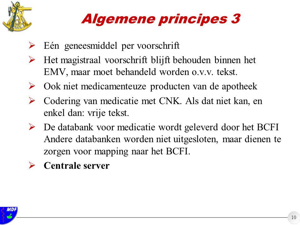10 Algemene principes 3  Eén geneesmiddel per voorschrift  Het magistraal voorschrift blijft behouden binnen het EMV, maar moet behandeld worden o.v.v.