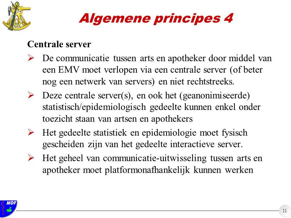 11 Algemene principes 4 Centrale server  De communicatie tussen arts en apotheker door middel van een EMV moet verlopen via een centrale server (of beter nog een netwerk van servers) en niet rechtstreeks.