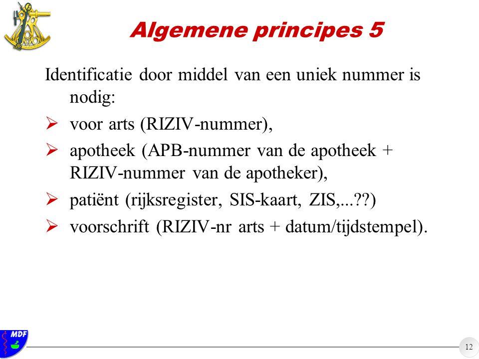 12 Algemene principes 5 Identificatie door middel van een uniek nummer is nodig:  voor arts (RIZIV-nummer),  apotheek (APB-nummer van de apotheek + RIZIV-nummer van de apotheker),  patiënt (rijksregister, SIS-kaart, ZIS,...??)  voorschrift (RIZIV-nr arts + datum/tijdstempel).