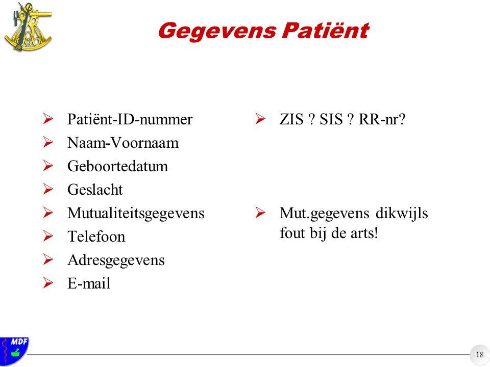 18 Gegevens Patiënt  Patiënt-ID-nummer  Naam-Voornaam  Geboortedatum  Geslacht  Mutualiteitsgegevens  Telefoon  Adresgegevens  E-mail  ZIS ?