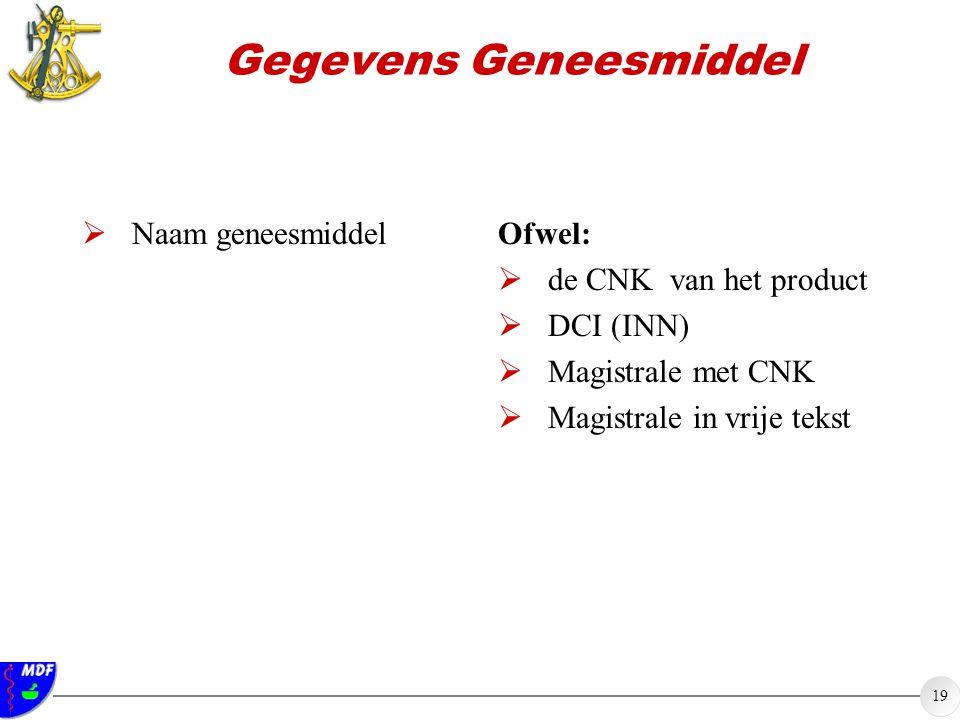 19 Gegevens Geneesmiddel  Naam geneesmiddel Ofwel:  de CNK van het product  DCI (INN)  Magistrale met CNK  Magistrale in vrije tekst