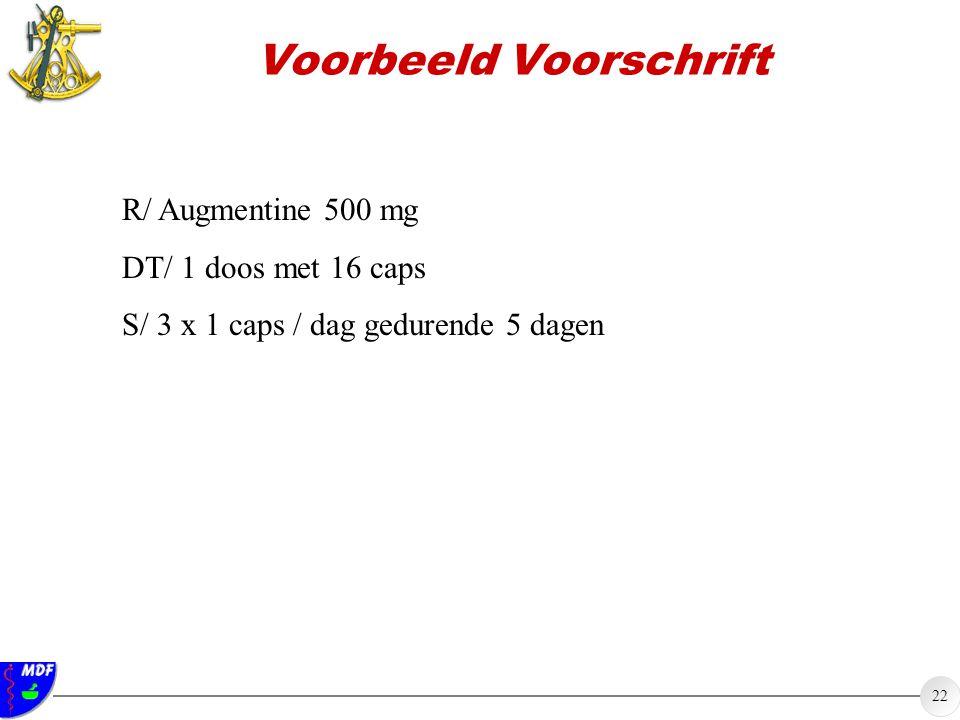 22 Voorbeeld Voorschrift R/ Augmentine 500 mg DT/ 1 doos met 16 caps S/ 3 x 1 caps / dag gedurende 5 dagen