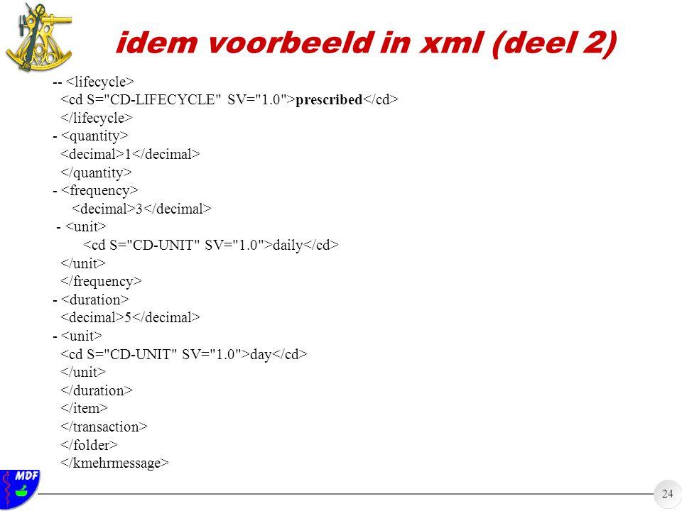 24 idem voorbeeld in xml (deel 2) -- prescribed - 1 - 3 - daily - 5 - day