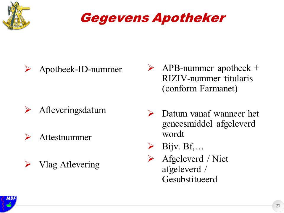27 Gegevens Apotheker  Apotheek-ID-nummer  Afleveringsdatum  Attestnummer  Vlag Aflevering  APB-nummer apotheek + RIZIV-nummer titularis (conform
