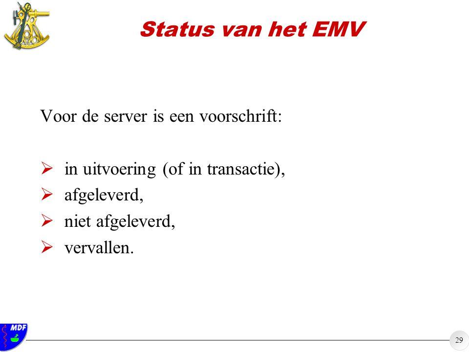 29 Status van het EMV Voor de server is een voorschrift:  in uitvoering (of in transactie),  afgeleverd,  niet afgeleverd,  vervallen.