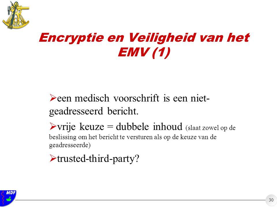 30 Encryptie en Veiligheid van het EMV (1)  een medisch voorschrift is een niet- geadresseerd bericht.  vrije keuze = dubbele inhoud (slaat zowel op