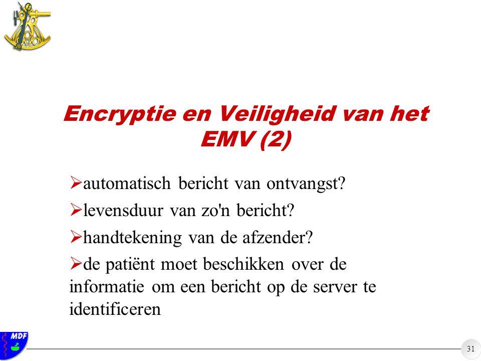 31 Encryptie en Veiligheid van het EMV (2)  automatisch bericht van ontvangst?  levensduur van zo'n bericht?  handtekening van de afzender?  de pa