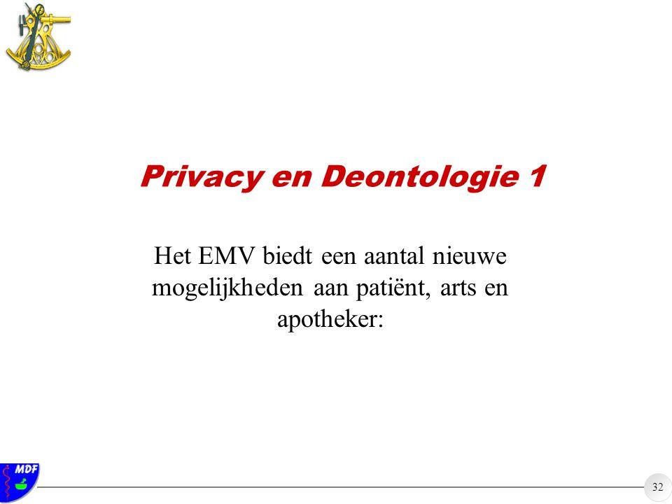 32 Privacy en Deontologie 1 Het EMV biedt een aantal nieuwe mogelijkheden aan patiënt, arts en apotheker: