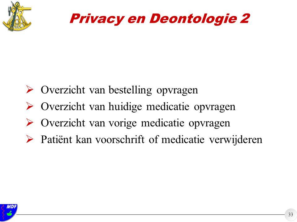 33 Privacy en Deontologie 2  Overzicht van bestelling opvragen  Overzicht van huidige medicatie opvragen  Overzicht van vorige medicatie opvragen  Patiënt kan voorschrift of medicatie verwijderen