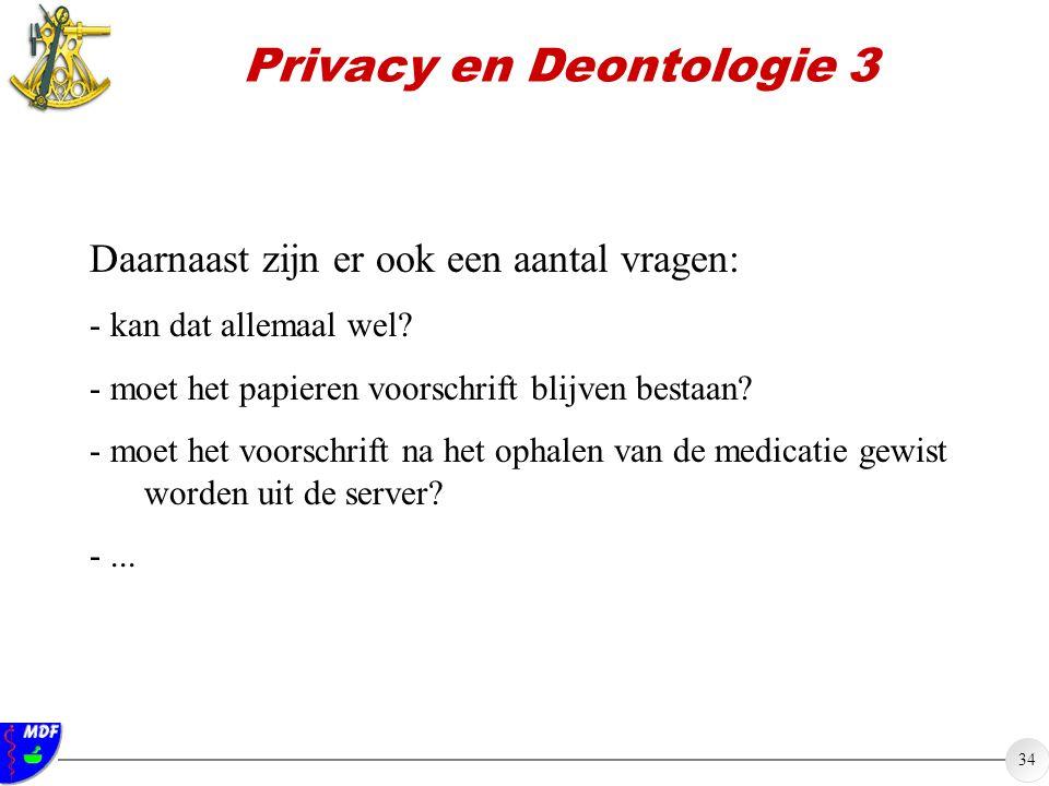 34 Privacy en Deontologie 3 Daarnaast zijn er ook een aantal vragen: - kan dat allemaal wel? - moet het papieren voorschrift blijven bestaan? - moet h