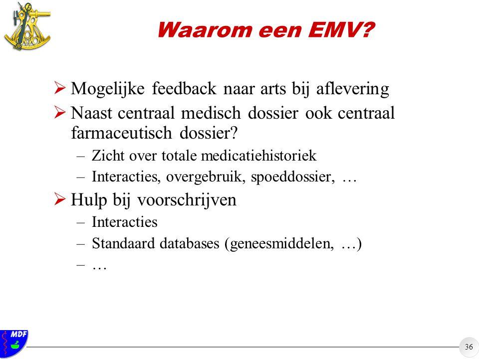 36 Waarom een EMV?  Mogelijke feedback naar arts bij aflevering  Naast centraal medisch dossier ook centraal farmaceutisch dossier? –Zicht over tota