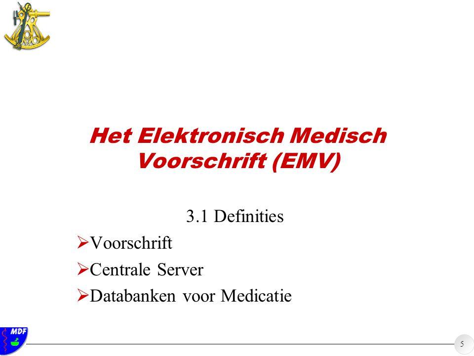 5 Het Elektronisch Medisch Voorschrift (EMV) 3.1 Definities  Voorschrift  Centrale Server  Databanken voor Medicatie