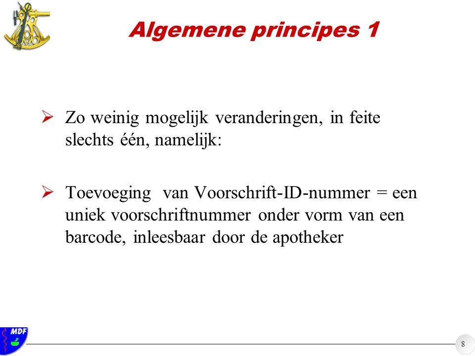 8 Algemene principes 1  Zo weinig mogelijk veranderingen, in feite slechts één, namelijk:  Toevoeging van Voorschrift-ID-nummer = een uniek voorschriftnummer onder vorm van een barcode, inleesbaar door de apotheker