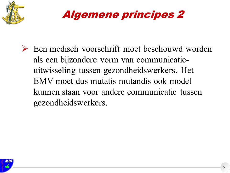 9 Algemene principes 2  Een medisch voorschrift moet beschouwd worden als een bijzondere vorm van communicatie- uitwisseling tussen gezondheidswerker