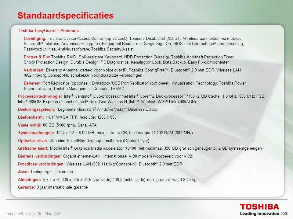 Tecra M9 slide: 18 Mei 2007 Opties & service Reparatie op locatie Express Port Replicator Classic Case