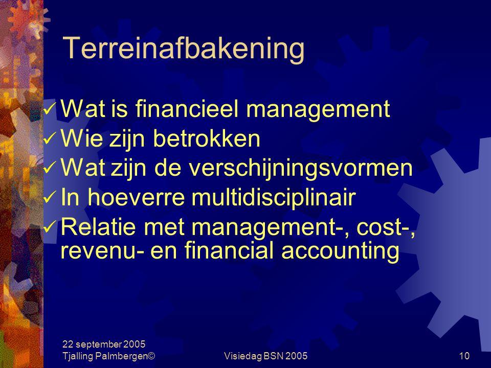 22 september 2005 Tjalling Palmbergen©Visiedag BSN 20059 Terreinafbakening Begrippenlijst financieel managementmanagement accounting financial account