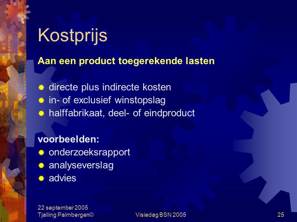 22 september 2005 Tjalling Palmbergen©Visiedag BSN 200524 Tarief Aan een eenheid productiefactor toegerekende lasten  directe plus indirecte kosten 