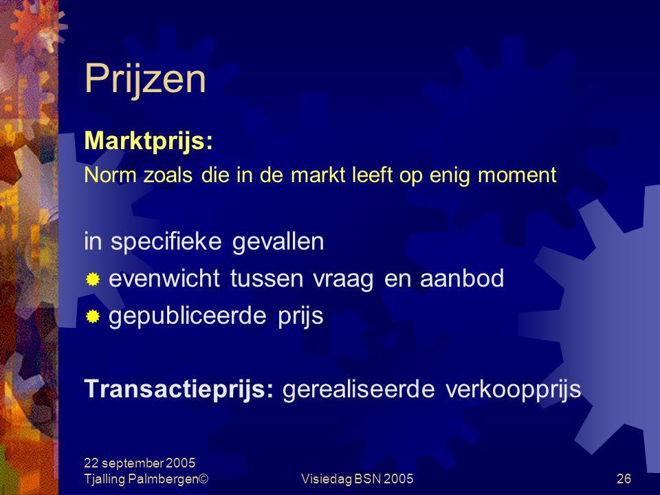 22 september 2005 Tjalling Palmbergen©Visiedag BSN 200525 Kostprijs Aan een product toegerekende lasten  directe plus indirecte kosten  in- of exclu