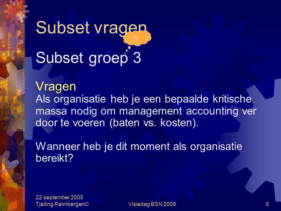 22 september 2005 Tjalling Palmbergen©Visiedag BSN 20054 Subset vragen Subset groep 2 Vragen Waaruit blijkt dat Bonnet/Simmons een verkokerd model han