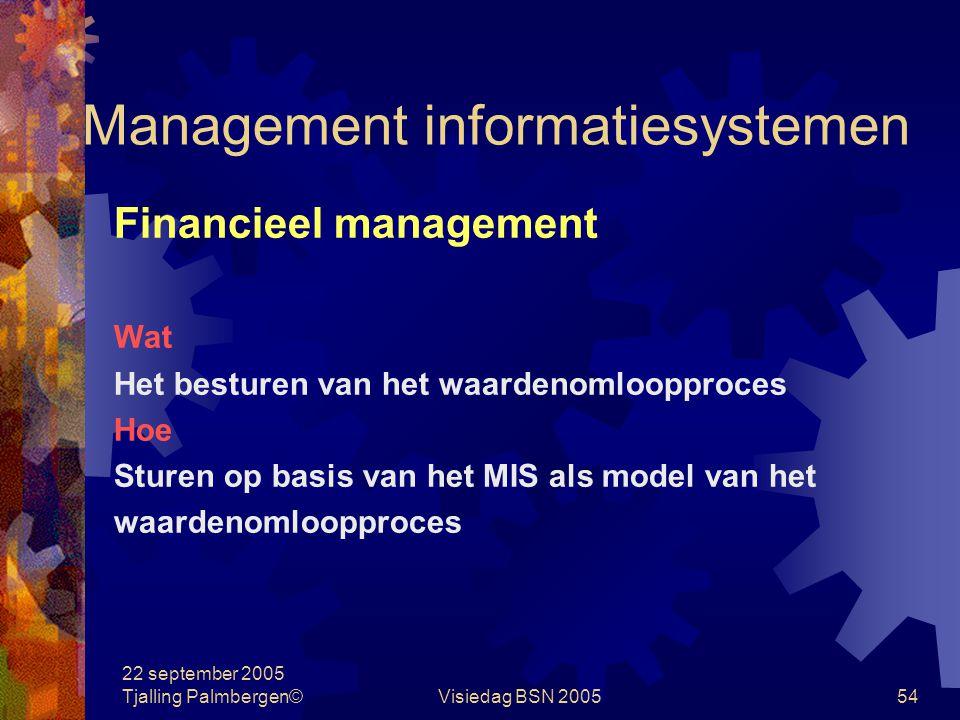22 september 2005 Tjalling Palmbergen©Visiedag BSN 200553 Management informatiesystemen Kernpunten financieel management Doelgerichtheid en efficiency