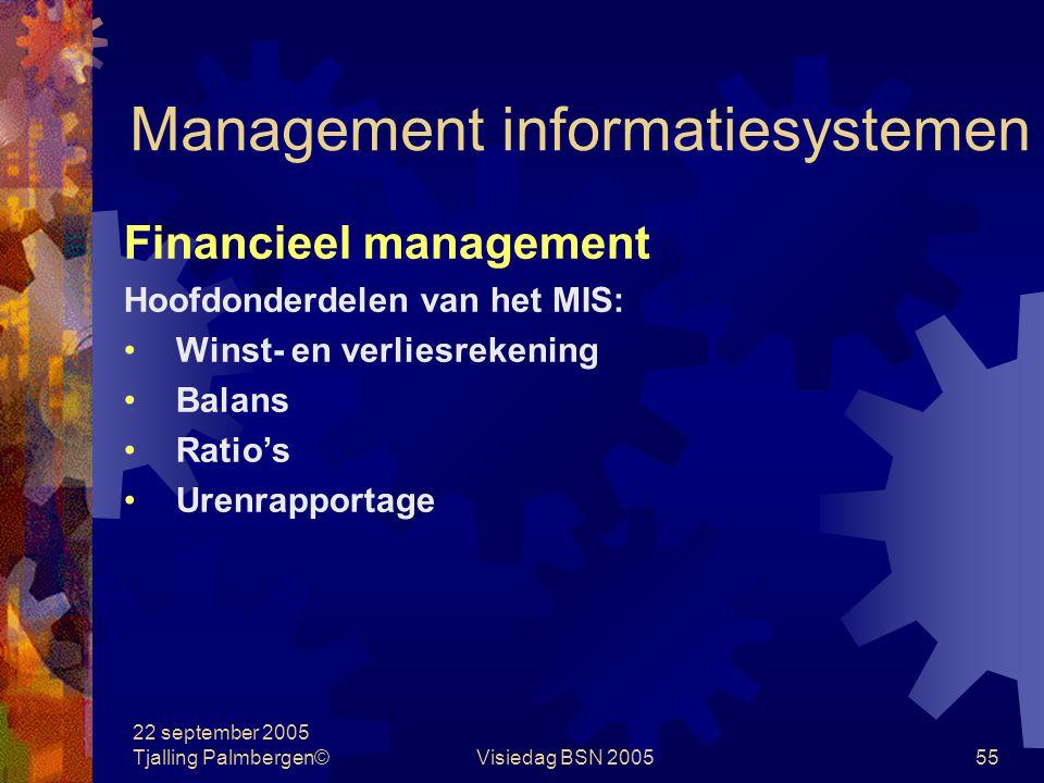 22 september 2005 Tjalling Palmbergen©Visiedag BSN 200554 Management informatiesystemen Financieel management Wat Het besturen van het waardenomlooppr