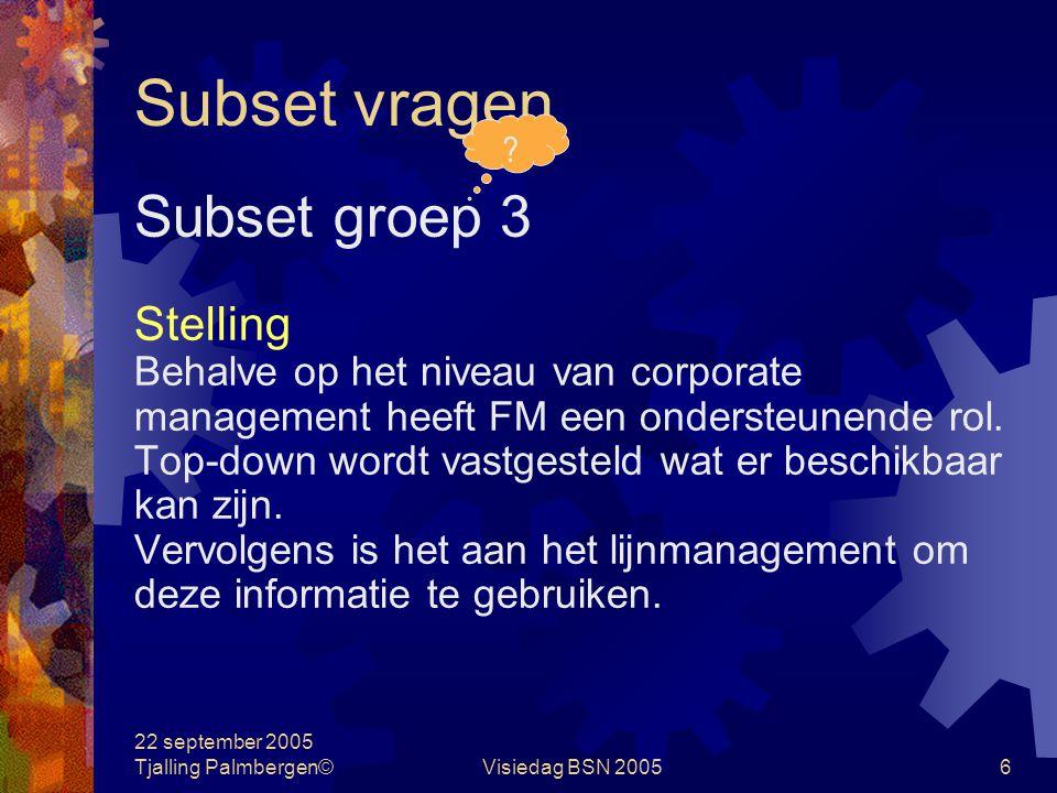 22 september 2005 Tjalling Palmbergen©Visiedag BSN 20055 Subset vragen Subset groep 3 Vragen Als organisatie heb je een bepaalde kritische massa nodig