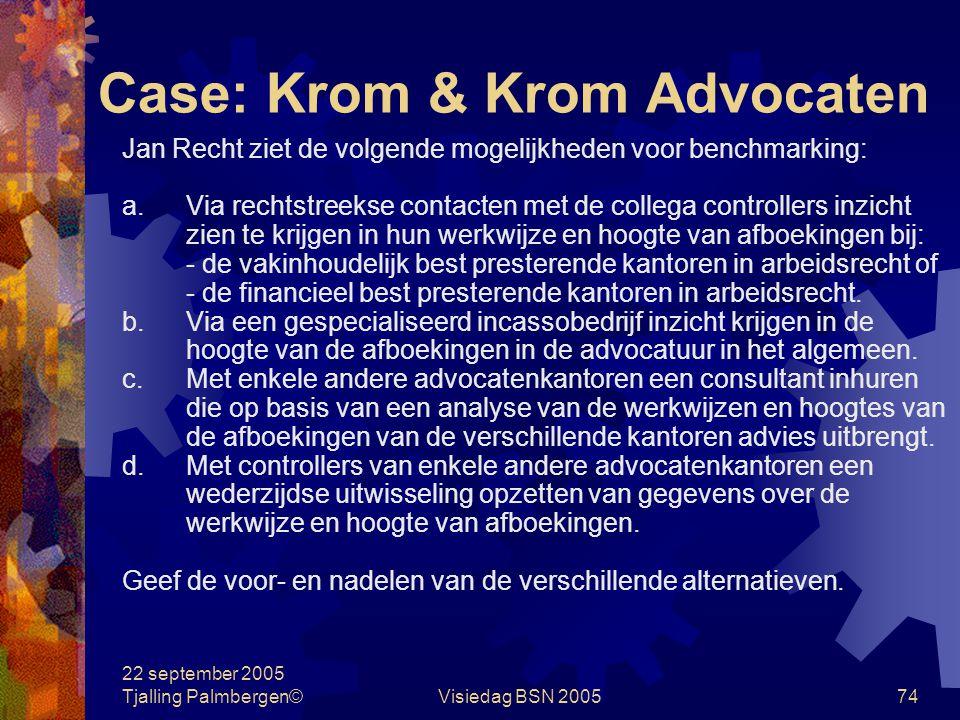 22 september 2005 Tjalling Palmbergen©Visiedag BSN 200573 Case: Krom & Krom Advocaten Krom & Krom Advocaten B.V. is gespecialiseerd in arbeidsrecht. D