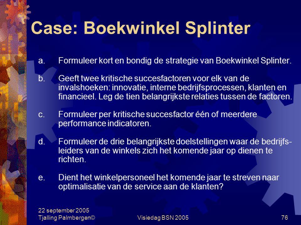 22 september 2005 Tjalling Palmbergen©Visiedag BSN 200575 Case: Boekwinkel Splinter Paul Splinter is in 1977 gestart met een boekwinkel in de woonwijk