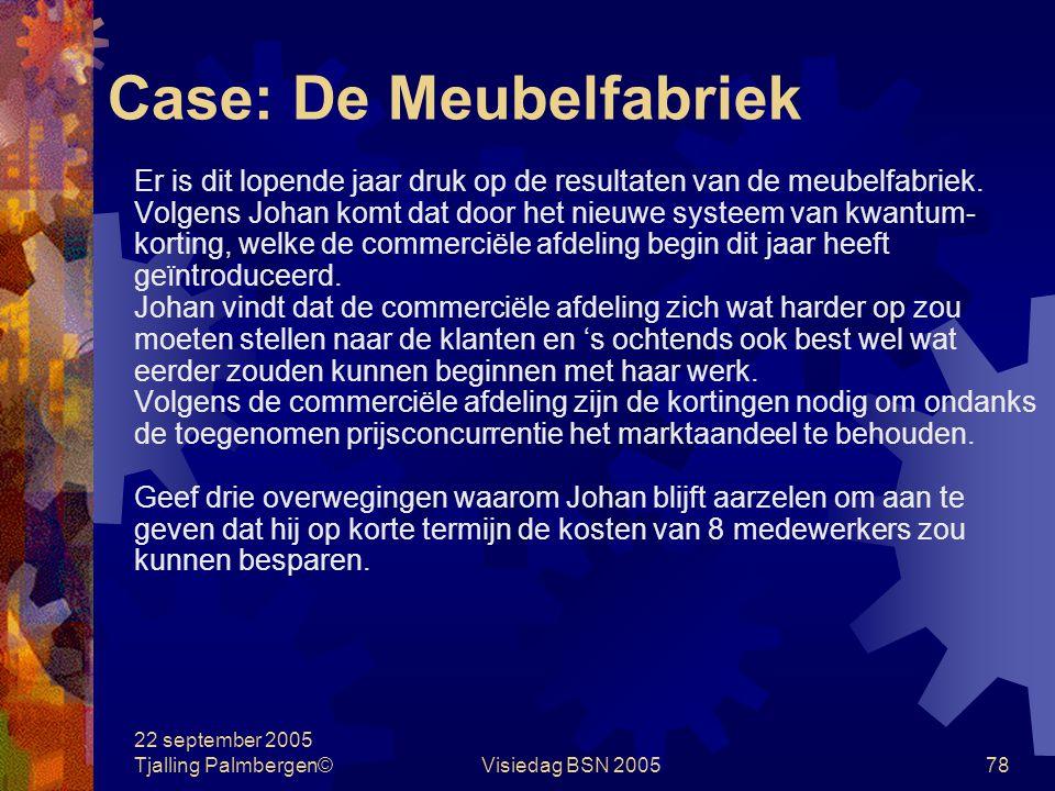 22 september 2005 Tjalling Palmbergen©Visiedag BSN 200577 Case: De Meubelfabriek Johan Faase is hoofd van de productie van een meubelfabriek. Hij geef