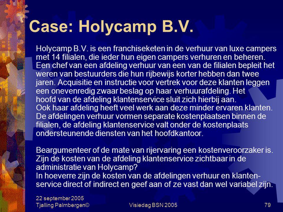 22 september 2005 Tjalling Palmbergen©Visiedag BSN 200578 Case: De Meubelfabriek Er is dit lopende jaar druk op de resultaten van de meubelfabriek. Vo
