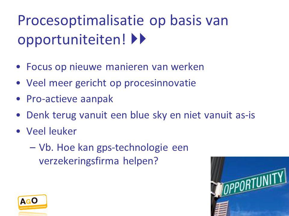Procesoptimalisatie op basis van opportuniteiten!  Focus op nieuwe manieren van werken Veel meer gericht op procesinnovatie Pro-actieve aanpak Denk