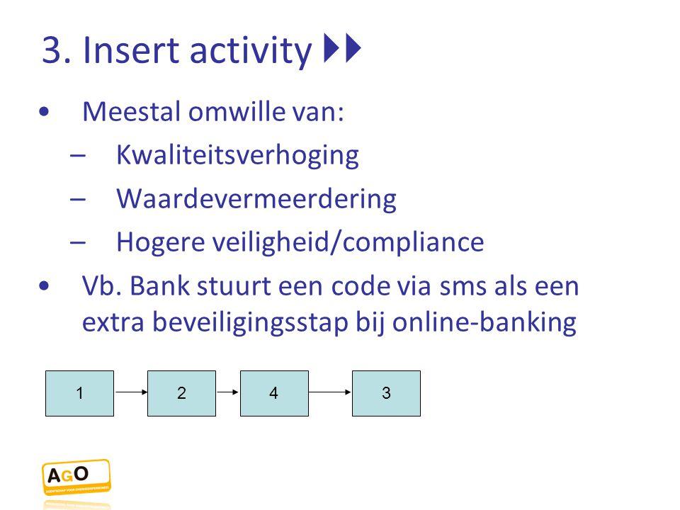 3. Insert activity  Meestal omwille van: –Kwaliteitsverhoging –Waardevermeerdering –Hogere veiligheid/compliance Vb. Bank stuurt een code via sms al
