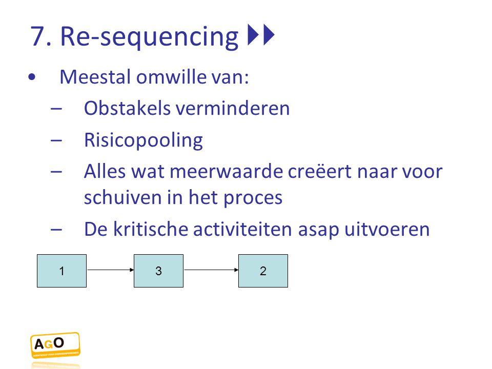 7. Re-sequencing  Meestal omwille van: –Obstakels verminderen –Risicopooling –Alles wat meerwaarde creëert naar voor schuiven in het proces –De krit