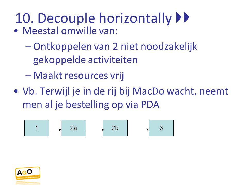 10. Decouple horizontally  Meestal omwille van: –Ontkoppelen van 2 niet noodzakelijk gekoppelde activiteiten –Maakt resources vrij Vb. Terwijl je in
