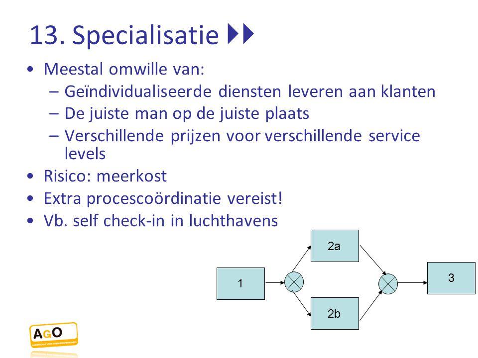 13. Specialisatie  Meestal omwille van: –Geïndividualiseerde diensten leveren aan klanten –De juiste man op de juiste plaats –Verschillende prijzen