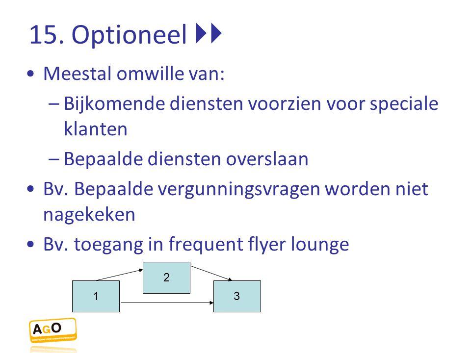 15. Optioneel  Meestal omwille van: –Bijkomende diensten voorzien voor speciale klanten –Bepaalde diensten overslaan Bv. Bepaalde vergunningsvragen
