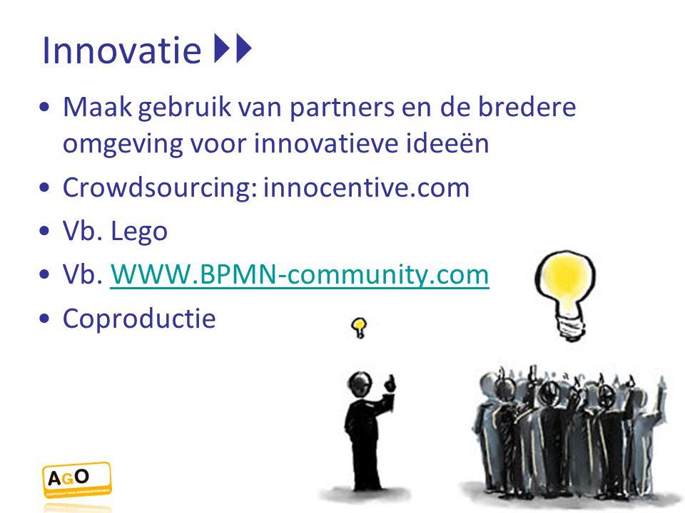 Innovatie  Maak gebruik van partners en de bredere omgeving voor innovatieve ideeën Crowdsourcing: innocentive.com Vb. Lego Vb. WWW.BPMN-community.c
