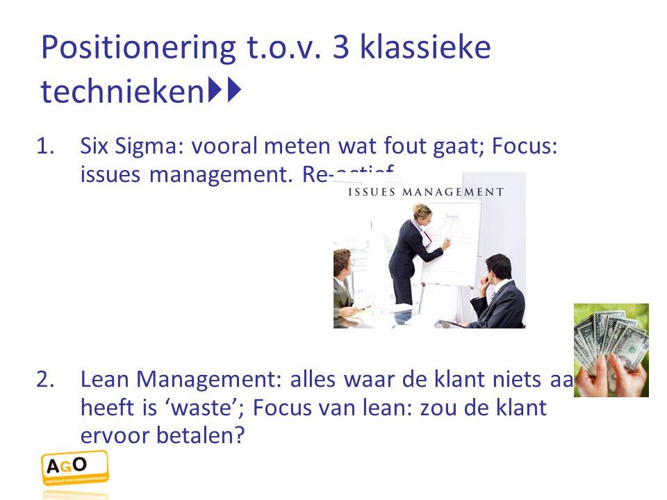 Positionering t.o.v. 3 klassieke technieken  1.Six Sigma: vooral meten wat fout gaat; Focus: issues management. Re-actief. 2.Lean Management: alles