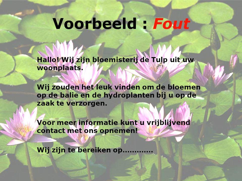 Voorbeeld : Fout Hallo.Wij zijn bloemisterij de Tulp uit uw woonplaats.