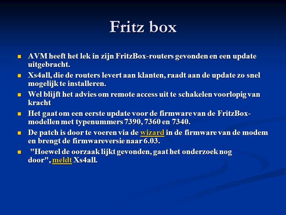 Fritz box AVM heeft het lek in zijn FritzBox-routers gevonden en een update uitgebracht.