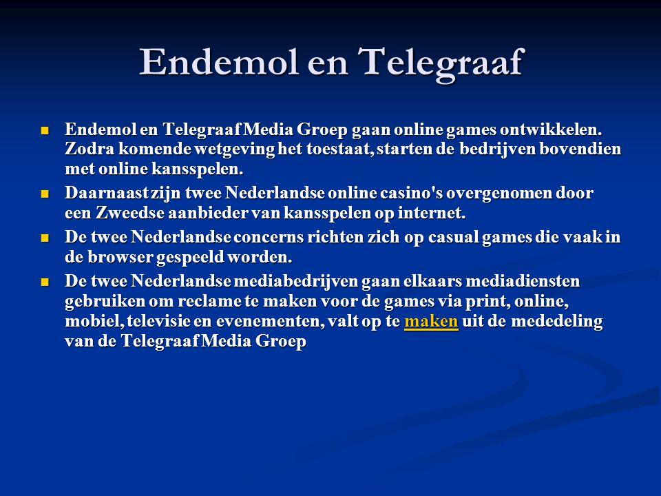 Endemol en Telegraaf Endemol en Telegraaf Media Groep gaan online games ontwikkelen.