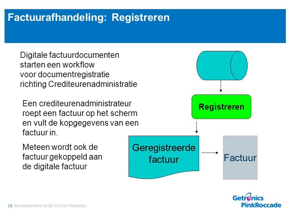18Gemeente Noordwijk CiVision Middelen Factuurafhandeling: Registreren Digitale factuurdocumenten starten een workflow voor documentregistratie richti