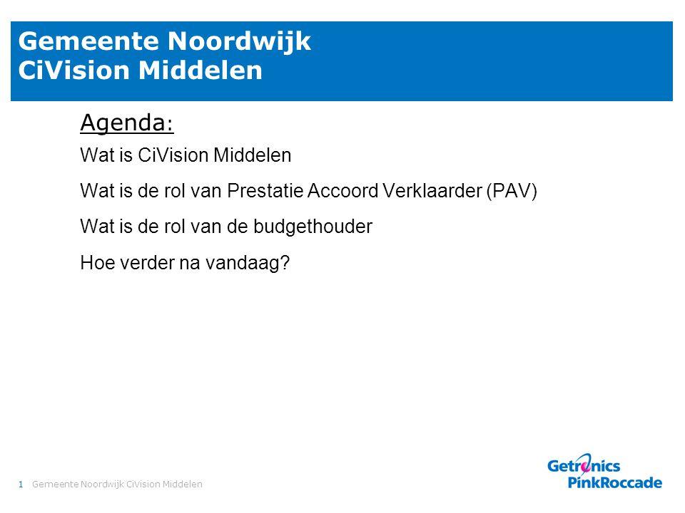 1Gemeente Noordwijk CiVision Middelen Agenda : Wat is CiVision Middelen Wat is de rol van Prestatie Accoord Verklaarder (PAV) Wat is de rol van de bud