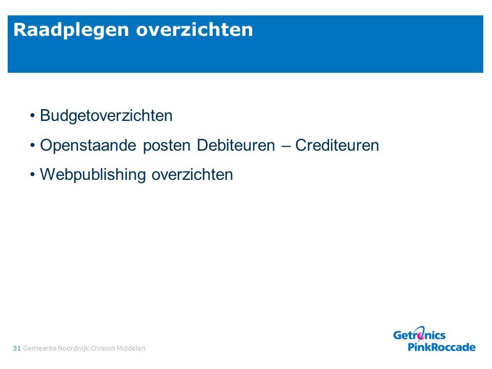 31Gemeente Noordwijk CiVision Middelen Raadplegen overzichten Budgetoverzichten Openstaande posten Debiteuren – Crediteuren Webpublishing overzichten