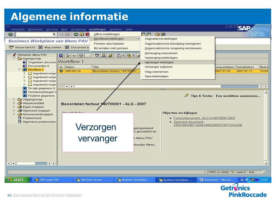 46Gemeente Noordwijk CiVision Middelen Algemene informatie Verzorgen vervanger