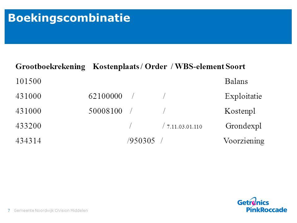 7Gemeente Noordwijk CiVision Middelen Boekingscombinatie Grootboekrekening Kostenplaats / Order / WBS-element Soort 101500 Balans 431000 62100000 / /