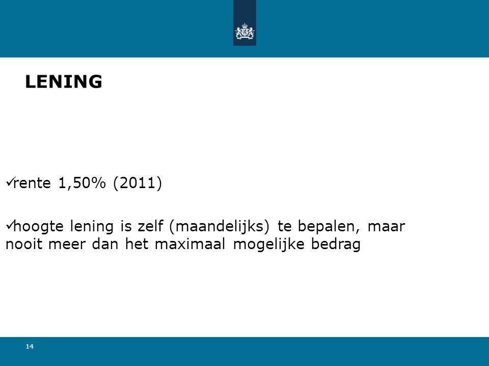 14 LENING rente 1,50% (2011) hoogte lening is zelf (maandelijks) te bepalen, maar nooit meer dan het maximaal mogelijke bedrag