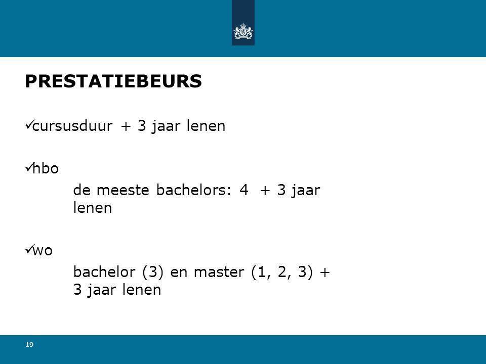 19 PRESTATIEBEURS cursusduur + 3 jaar lenen hbo de meeste bachelors: 4 + 3 jaar lenen wo bachelor (3) en master (1, 2, 3) + 3 jaar lenen