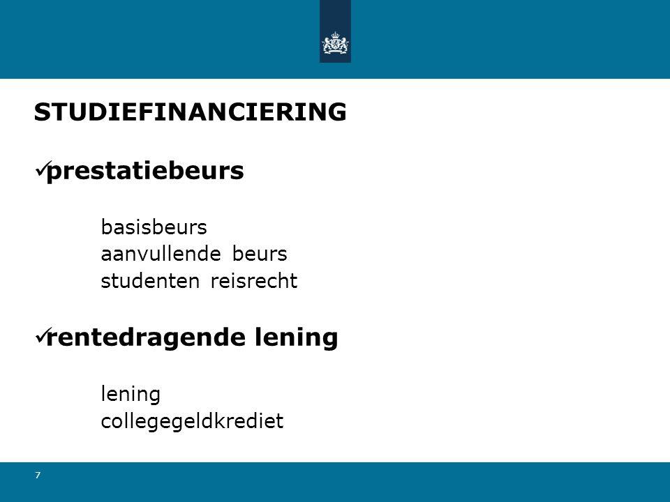 7 STUDIEFINANCIERING prestatiebeurs basisbeurs aanvullende beurs studenten reisrecht rentedragende lening lening collegegeldkrediet