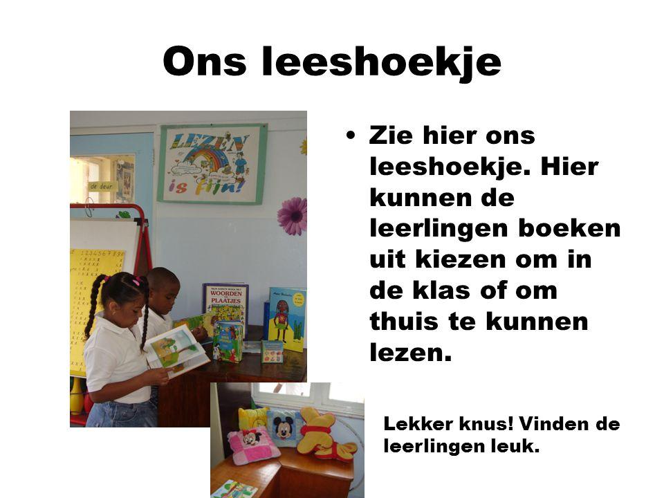 Zie hier ons leeshoekje. Hier kunnen de leerlingen boeken uit kiezen om in de klas of om thuis te kunnen lezen. Lekker knus! Vinden de leerlingen leuk